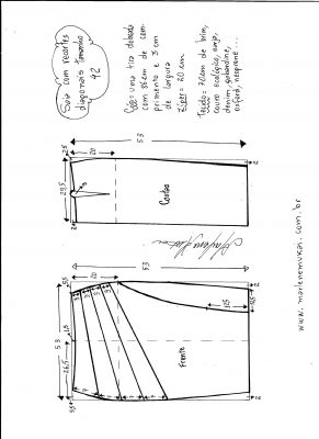 Esquema de modelagem de saia com recorte diagonal tamanho 42.