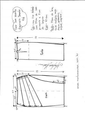 Esquema de modelagem de saia com recorte diagonal tamanho 46.