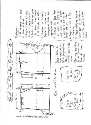 Esquema de modelagem de short com pregas tamanho 40.