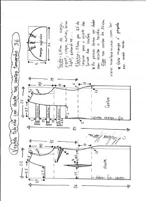 Esquema de modelagem de vestido tubinho com decote nas costas e manga copinho tamanho 36.