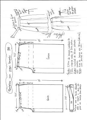 Esquema de modelagem de pantalona com pregas tamanho 56.
