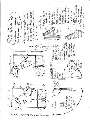 Esquema de modelagem de Vestido de festa cava americana tamanho 50.
