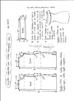 Esquema de modelagem de vestido ciganinha para malha tamanho GG.
