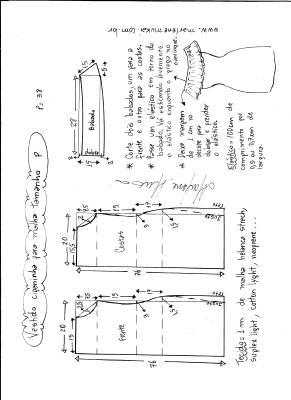 Esquema de modelagem de vestido ciganinha para malha tamanho P.