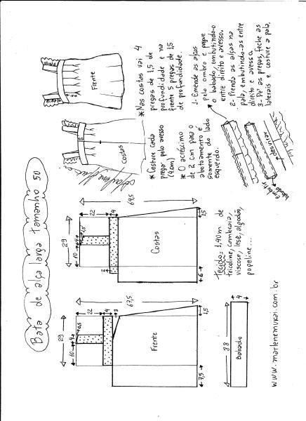 Esquema de modelagem de bata com alça larga e babado tamanho 50.