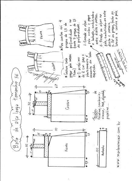 Esquema de modelagem de bata com alça larga e babado tamanho 56.