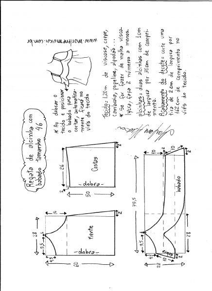 Esquema de modelagem de regata de alcinha com babado tamanho 46.