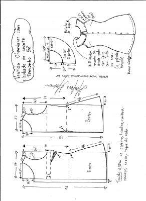 Esquema de modelagem de vestido chamesier com babado tamanho 52.