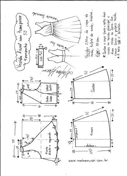 Esquema de modelagem de vestido evasê com transpasse tamanho 50.