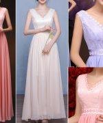 Vestido de festa com decote V simples e esquema de modelagem do 36 ao 56.
