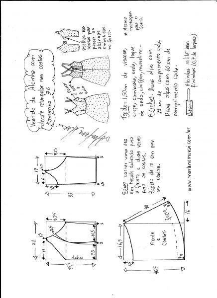 Esquema de modelagem de vestido de alcinha e decote costas tamanho 36.