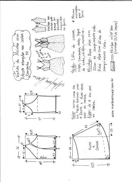 Esquema de modelagem de vestido de alcinha e decote costas tamanho 44.