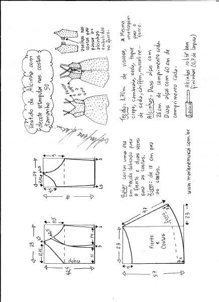 Esquema de modelagem de vestido de alcinha e decote costas tamanho 50.