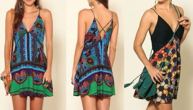 """Esquema de modelagem de vestido evasê com decote em """"V"""" frente e costas do 36 ao 56."""