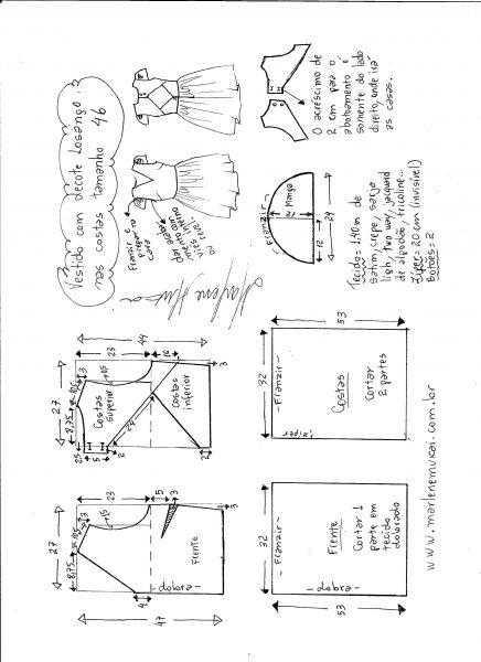Esquema de modelagem de vestido com decote losango nas costas tamanho 46.