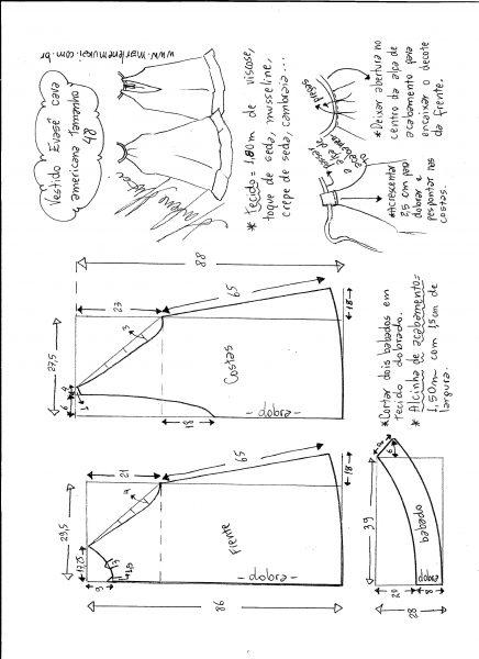 Esquema de modelagem de Vestido cava americana evasê tamanho 48.