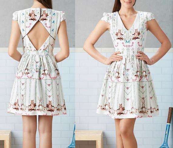 Esquema de modelagem de vestido com decote losango nas costas, decote V na frente e manga copinho do 36 ao 56.