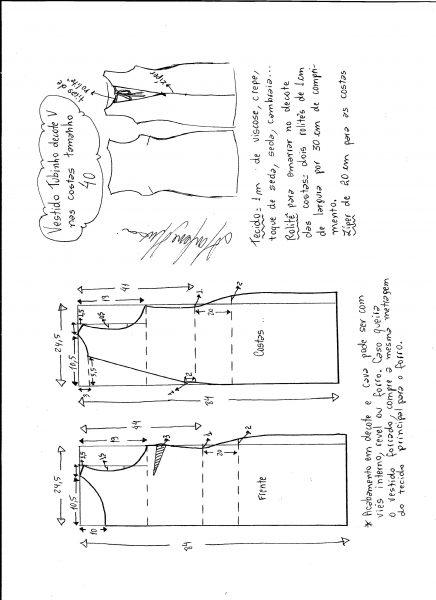 Esquema de modelagem de vestido tubinho com decote nas costas tamanho 40.