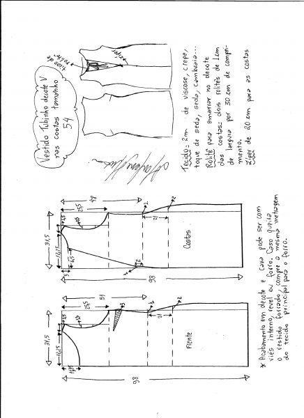 Esquema de modelagem de vestido tubinho com decote nas costas tamanho 54.