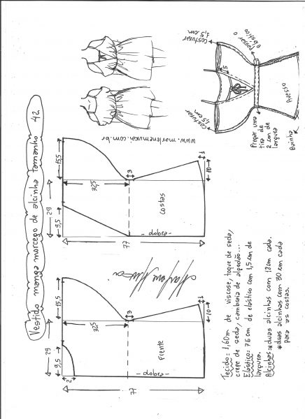 Esquema de modelagem de vestido de alcinha com manga morcego tamanho 42.