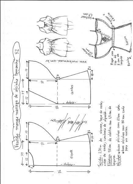 Esquema de modelagem de vestido de alcinha com manga morcego tamanho 52.
