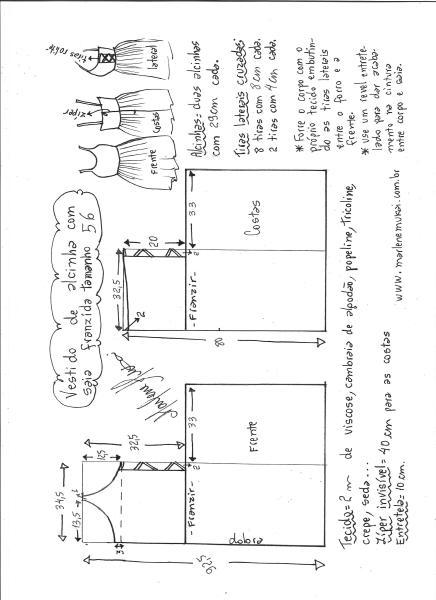 Esquema de modelagem de vestido de alcinha saia franzida tamanho 56.