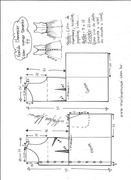 Esquema de modelagem de vestido chamisier tamanho 44.