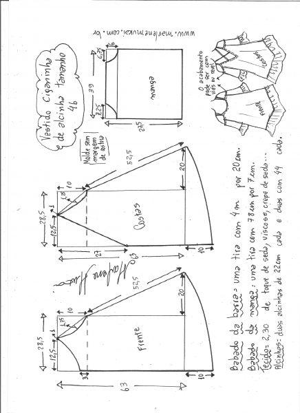 Esquema de modelagem de vestido ciganinha de alcinha tamanho 46.