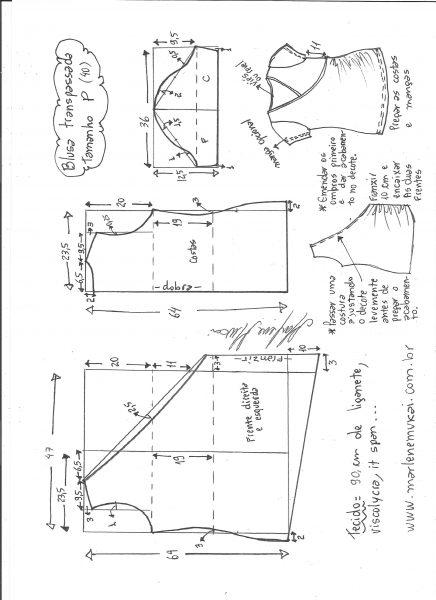 Esquema de modelagem de blusa transpassada de malha tamanho P.