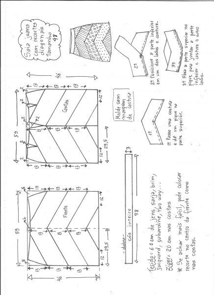 Esquema de modelagem de saia jeans com recortes tamanho 48.