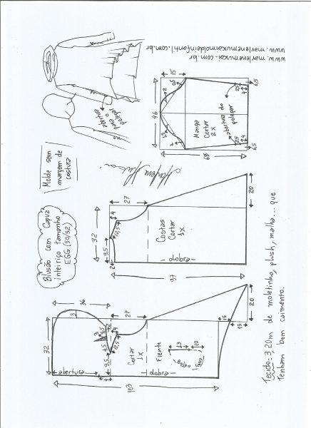 Esquema de modelagem de blusão com capuz tamanho EGG.