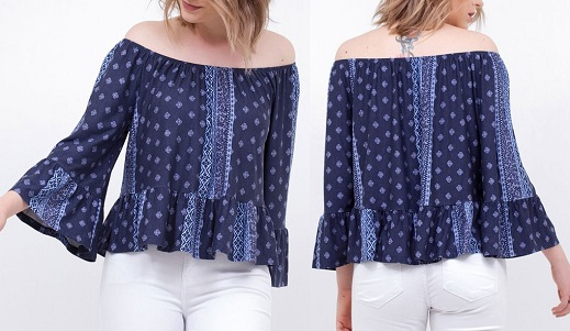 1ebc5178e Esquema de modelagem de blusa ciganinha com manga e babados do 36 ao 56.