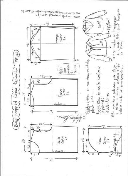Esquema de modelagem de blusa cropped com capuz tamanho PP.