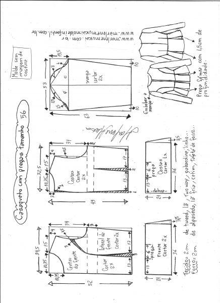 Esquema de modelagem de casaqueto com pregas tamanho 56.