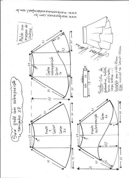Esquema de modelagem de saia godê com sobreposição tamanho 38.