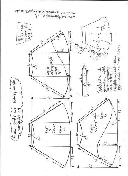 Esquema de modelagem de saia godê com sobreposição tamanho 44.