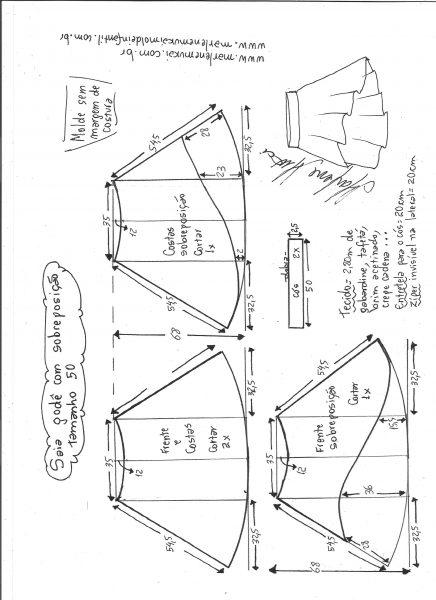 Esquema de modelagem de saia godê com sobreposição tamanho 50.