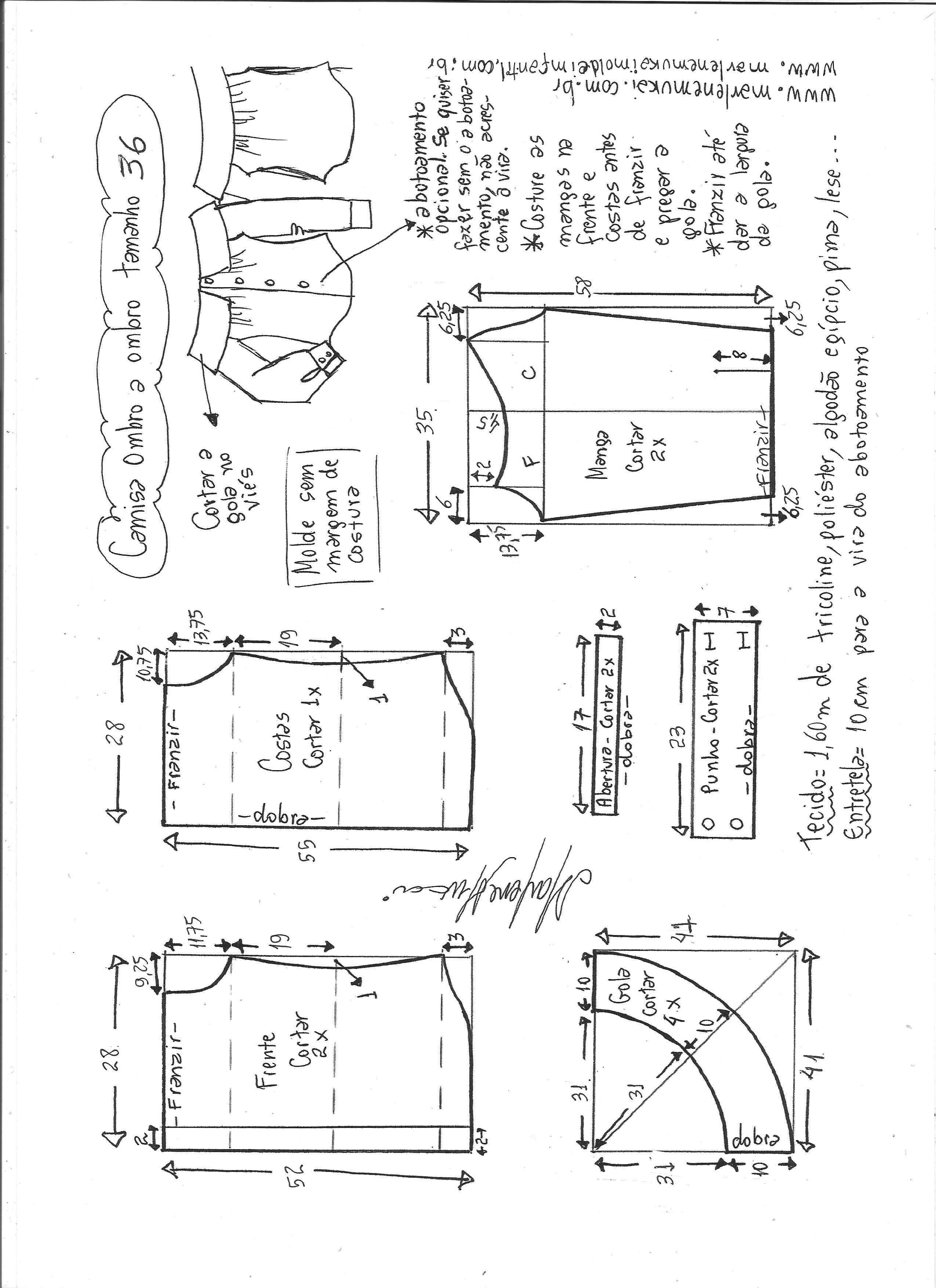 600ae8be663ee3 Camisa manga ombro a ombro | DIY - molde, corte e costura - Marlene ...
