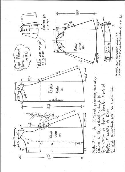 Esquema de modelagem de Capa pelerine tamanho M.