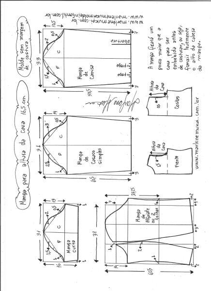 Esquema de modelagem de mangas curta, de casaco, camisa e alfaiate para altura de cava de 16,5 cm.