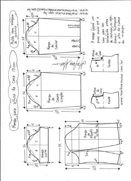 Esquema de modelagem de mangas curta, de casaco, camisa e alfaiate para altura de cava de 19 cm.