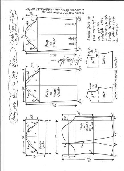 Esquema de modelagem de mangas curta, de casaco, camisa e alfaiate para altura de cava de 20 cm.