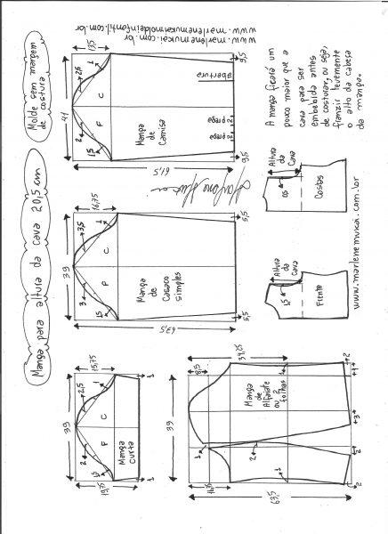 Esquema de modelagem de mangas curta, de casaco, camisa e alfaiate para altura de cava de 20,5 cm.