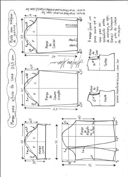 Esquema de modelagem de mangas curta, de casaco, camisa e alfaiate para altura de cava de 21,5 cm.