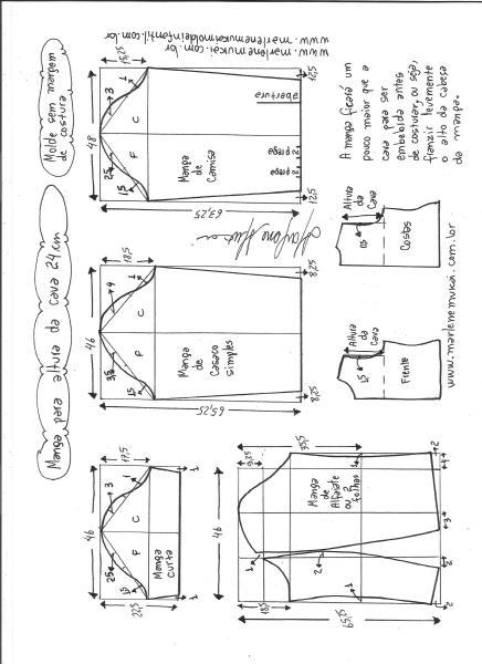 Esquema de modelagem de mangas curta, de casaco, camisa e alfaiate para altura de cava de 24 cm.