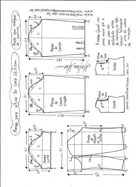 Esquema de modelagem de mangas curta, de casaco, camisa e alfaiate para altura de cava de 26,5 cm.