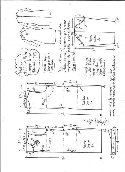 Esquema de modelagem de vestido tubinho malha manga longa tamanho EXG.