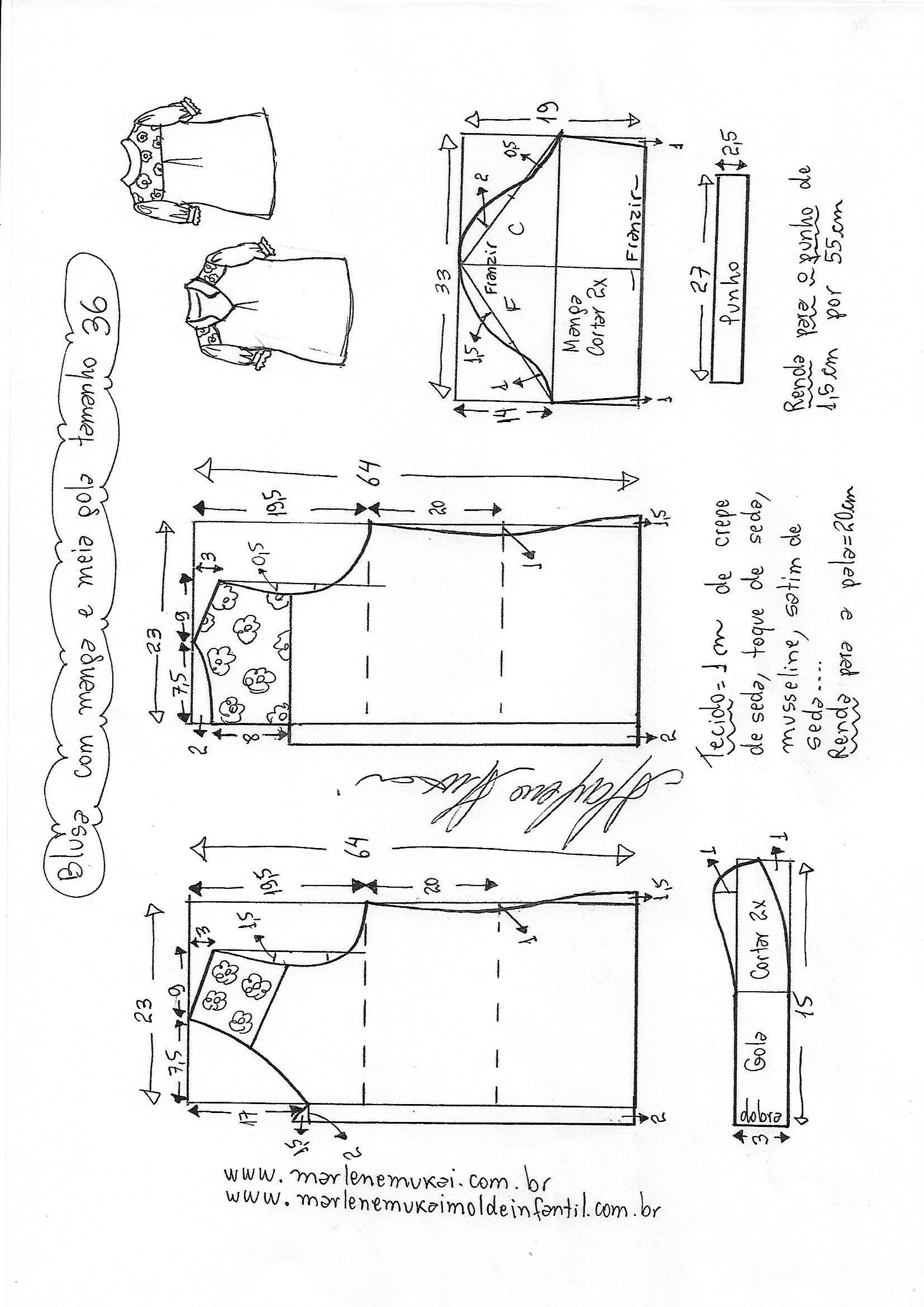 2ed858a822 Esquema de modelagem de blusa com manga e meia gola tamanho 36