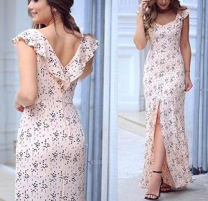 5d8685016551 Vestido longo com fenda e babado no decote | DIY - molde, corte e ...