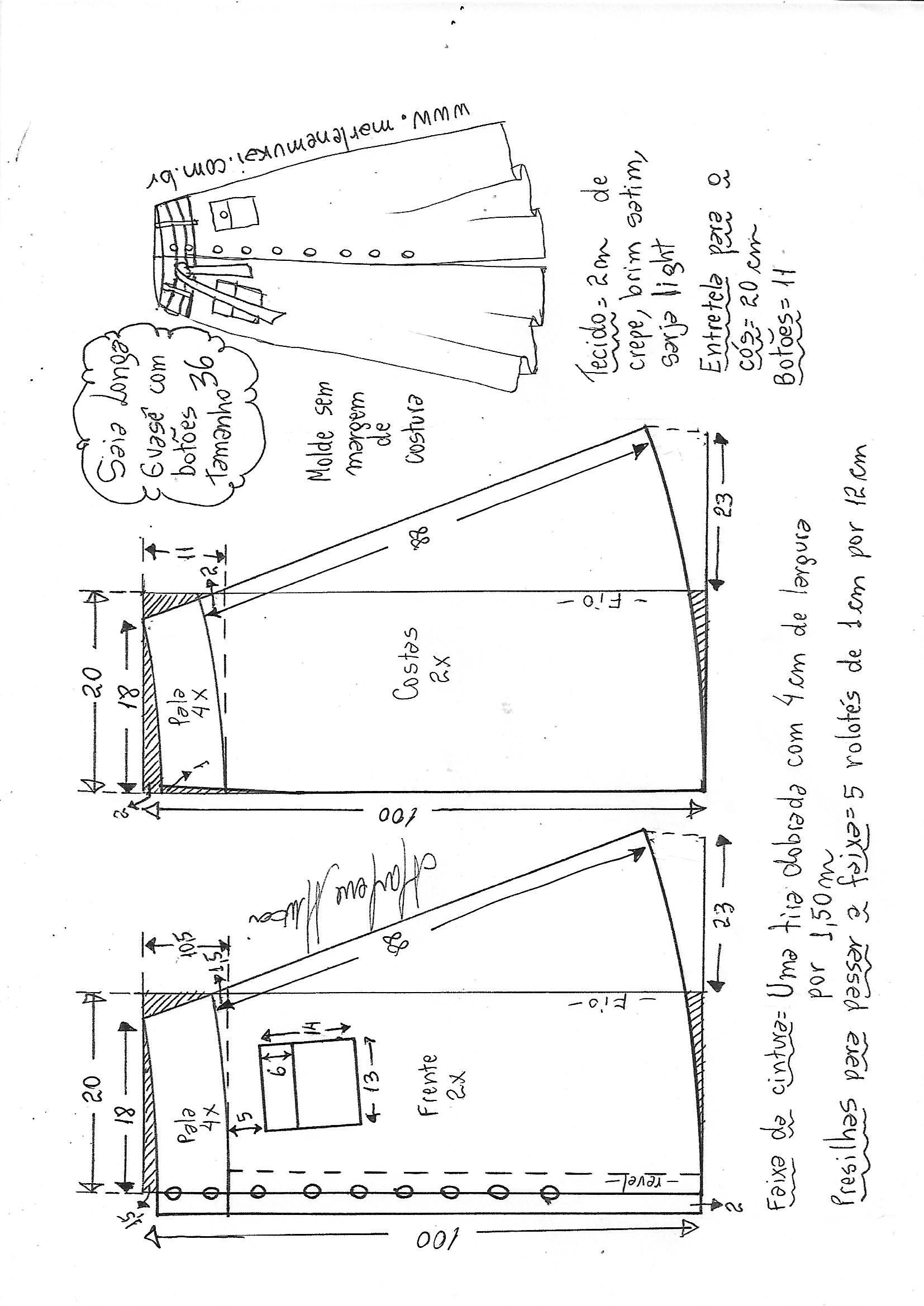 14b9d7143 Esquema de modelagem de saia longa evasê, botões e cós anatômico 36 .